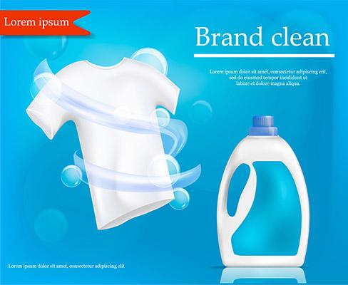 طرح پوستر وکتور مايع شوينده لباس تبليغات خدمات شستشوي بهداشتي تميز
