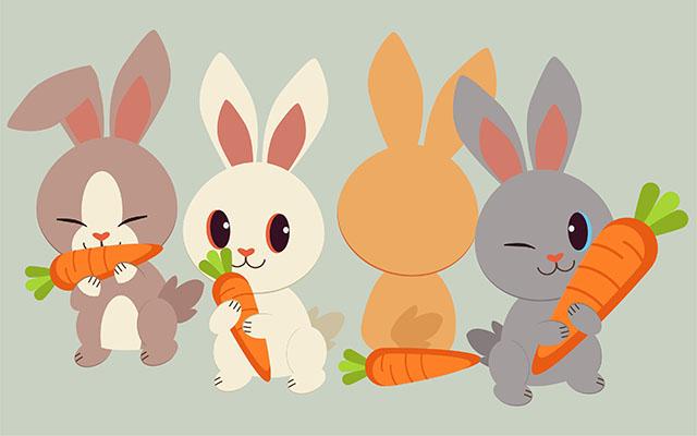 تصوير شخصيت خرگوش بامزه کارتوني ناز و هويج تصويرسازيطح لايه باز وکتور