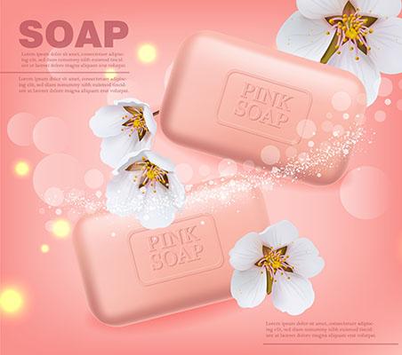 طرح لايه باز وکتور 3بعدي صابون شستشو ي نرم و مراقبت کننده نظافت با گلهاي شکوفه گيلاس بسته بندي لوازم بهداشتي
