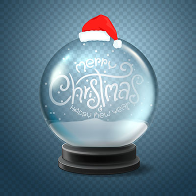 طرح حباب آرزوهاي برفي شيشه اي 3بعدي جشن کريسمس هديه شاد جلوه کريستال