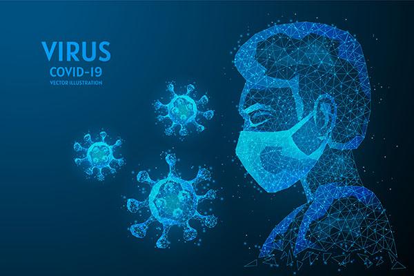 طرح مدرن ديجيتال شخصيت پزشک با ماسک بهداشتي نوراني بافت چندضلعي کرونا ويروس کويد 19