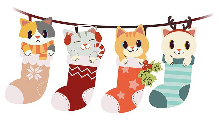 طرح گربه هاي ملوس بامزهکارتوني تصويرسازي شده در جوراب جشن کريسمس سال نو لايه باز وکتور