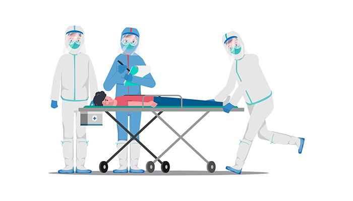 پس زمينه وکتور لايه باز طرح کارتوني تصويرسازي تختخواب بيمارستان پزشکي و کادر درمان دکتر و تجهيزات کرونا ویروس کوید 19