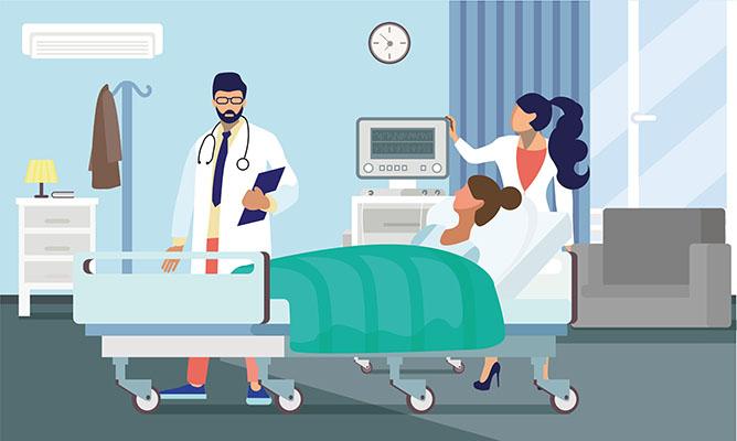 طرح کارتوني تصويرسازي تختخواب بيمارستان پزشکي و کادر درمان دکتر و تجهيزات کرونا ویروس کوید 19 پس زمينه وکتور لايه باز