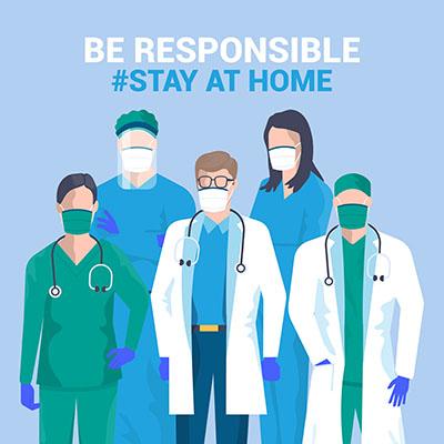 طرح گروه پزشکان کارتوني تصويرسازي تخت کادر درمان بهداشت با ماسک جهت قرنطينه کرونا ويروس کويد 19