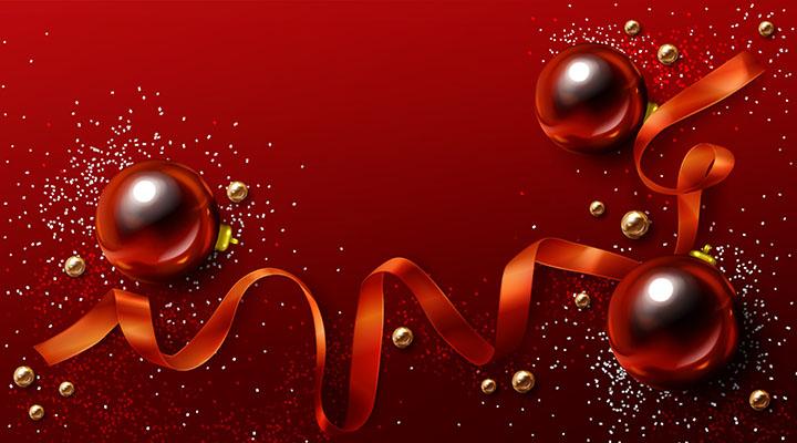 طرح پس زمينه تبريک جشن کريسمس و تولد شاد ربان هديه درخشان توپ سال نو